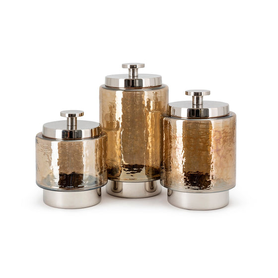 Easton Amber Decorative Glass Canister Jars