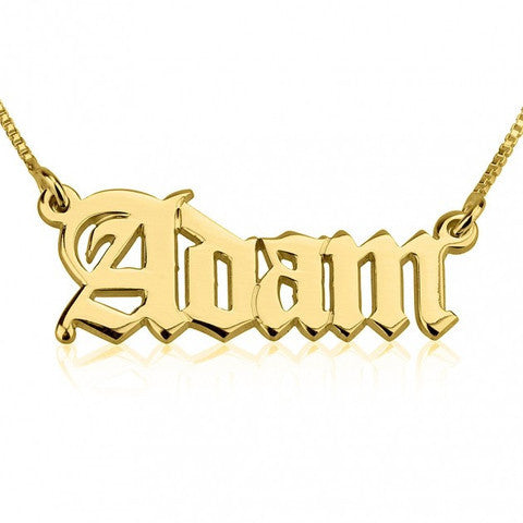 Old English Name 18K Gold Plated Necklace