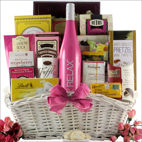 Mother's Day Relax Wine Gourmet Gift Basket - Premier Home & Gifts