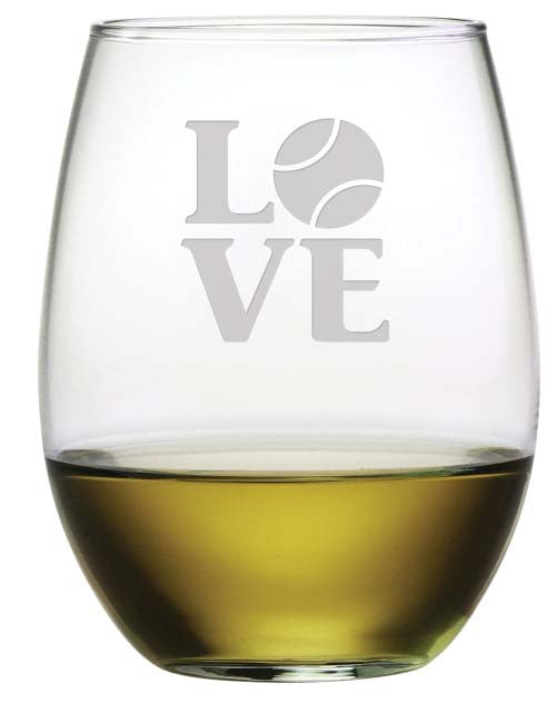 Love Tennis Stemless Wine Glasses