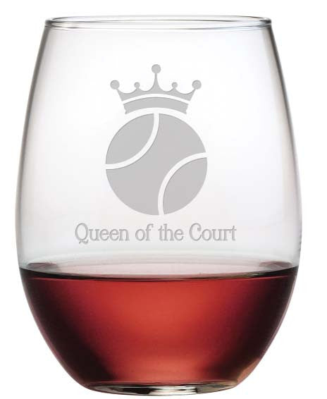 Queen of the Court Stemless Wine Glasses ~ Set of 4