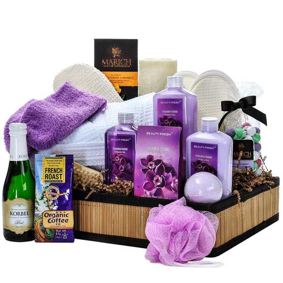 Hawaiian Orchid Luxury Spa Gift Basket - Gift Baskets for Her