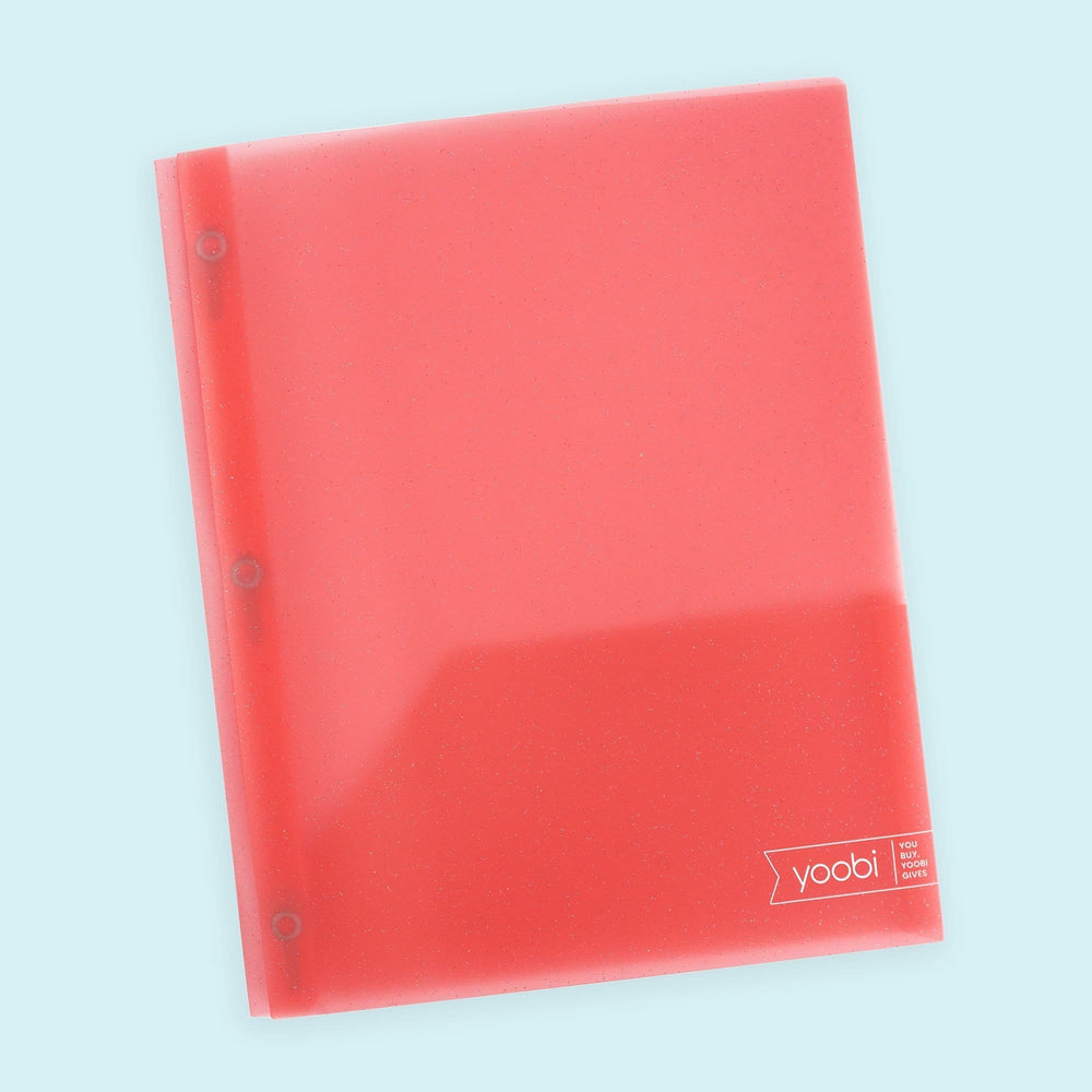 Poly Folder with Prongs - Pink Glitter