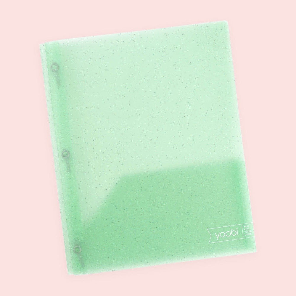 Poly Folder with Prongs - Mint Glitter