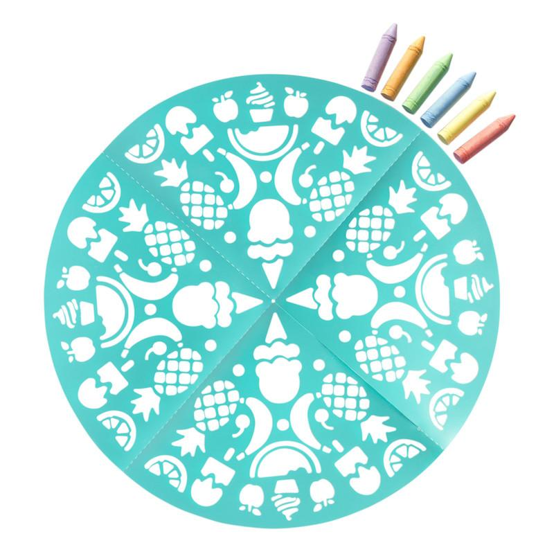 Sidewalk Chalk Treats and Sweets Mandala Set, 1 Stencil, 6 Chalk Pieces - Multicolor