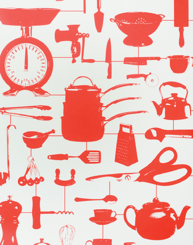 Airfix Kitchen Wallpaper in Red