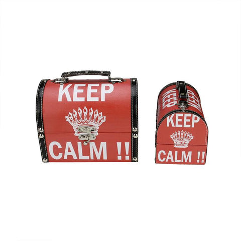 Set of 2 Red and White Keep Calm!! Decorative Wooden Storage Boxes 7.25-8.75""