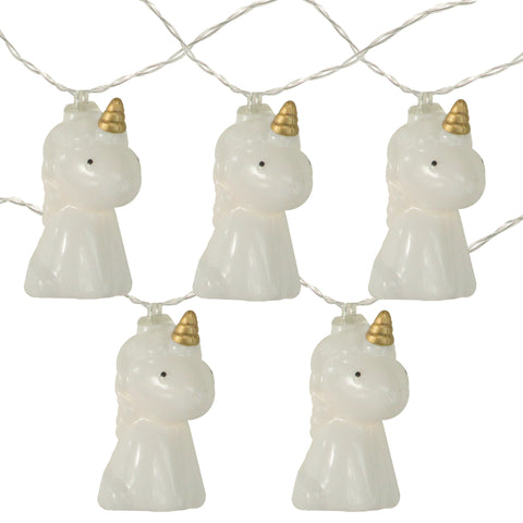 10 Battery Operated Unicorn Summer LED String Lights - 4.5ft Clear Wire