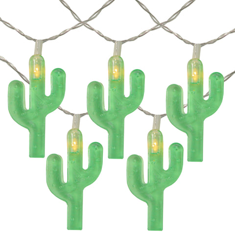 10 Battery Operated Cactus Summer LED String Lights - 4.5ft Clear Wire