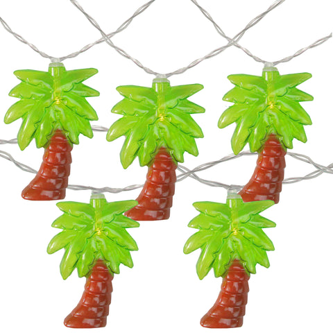 10 Battery Operated Palm Tree Summer LED String Lights - 4.5ft Clear Wire