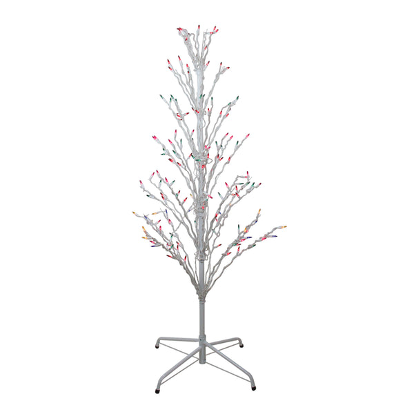 4' White Lighted Christmas Cascade Twig Tree Outdoor Decoration - Multi Lights