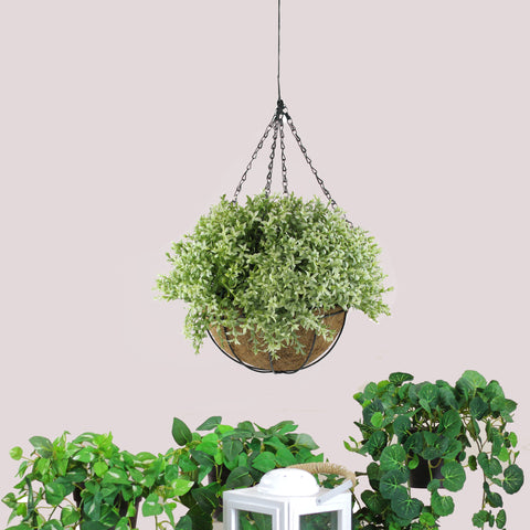 "10"" Green and Brown Artificial Two-Tone Foliage Hanging Basket"