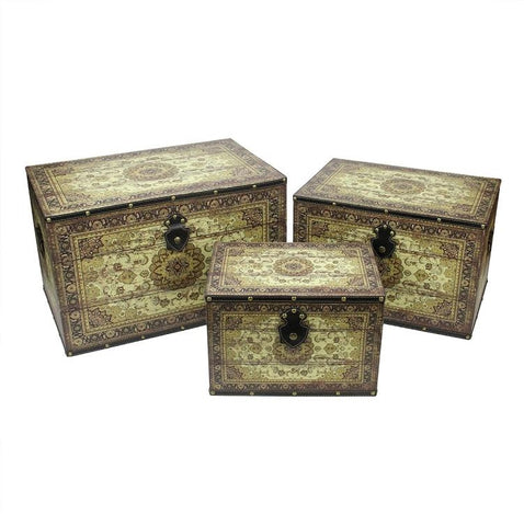 Set of 3 Oriental-Style Brown and Cream Earth Tone Decorative Wooden Storage Boxes 22""