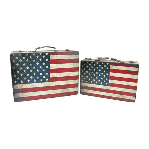 Set of 2 Rustic American Flag Rectangular Wooden Decorative Storage Boxes 14.5-17""