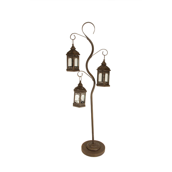 "50.5"" Rustic Brown Pillar Candle Holder Tree with 3 Decorative Lanterns"