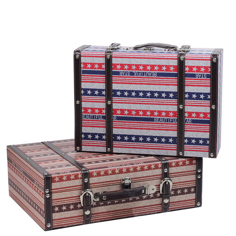 Set of 2 Vintage-Style Red, White and Blue Beautiful Star Decorative Wooden Luggage Trunks 17.5""