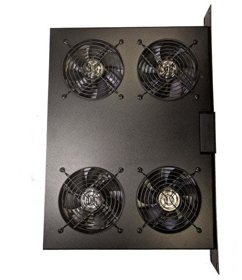 Coolerguys 1U 4 Fan Rackmount Server Cooling System with LED Programmable Thermostat - Coolerguys