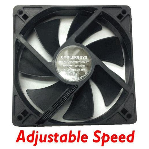 Coolerguys 120mm (120x120x25) fan adjustable speeds - Coolerguys