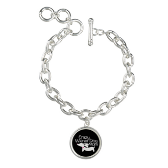 Crazy Wiener Dog Mom Charm Bracelet