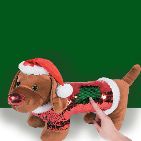 Sequin Christmas Dachshund in Santa Hat