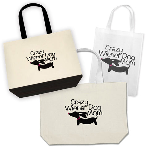 Crazy Wiener Dog Mom Dachshund Tote Bags