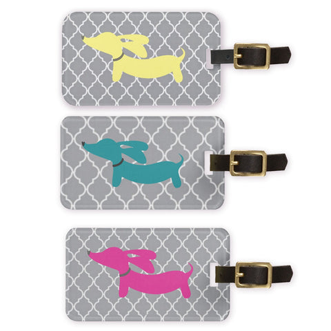 Dachshund Luggage Bag Tags - Pink, Blue or Yellow