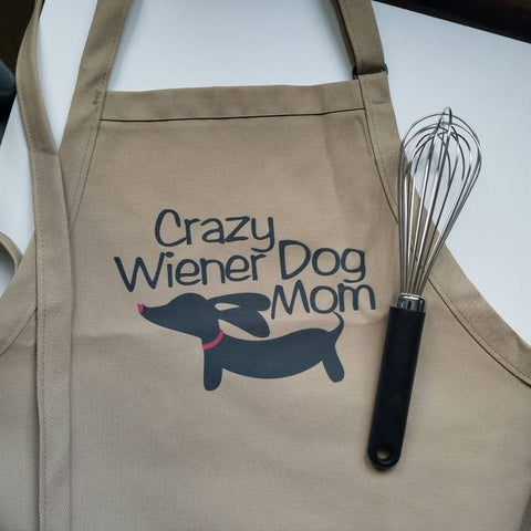 Crazy Wiener Dog Mom Kitchen Apron