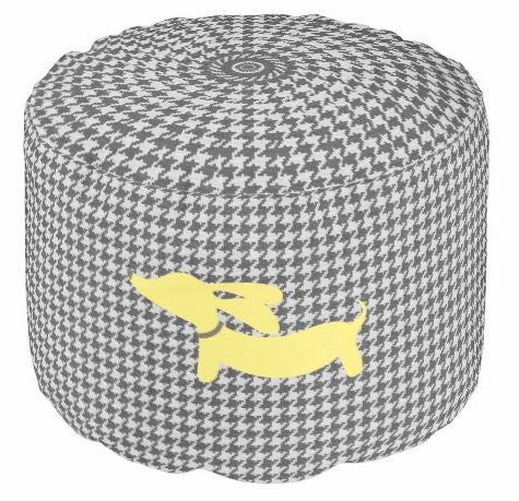 Pouf Footstool | Houndstooth with Dachshunds