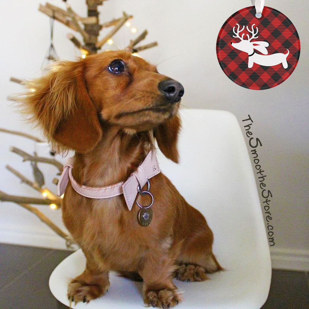 Buffalo Plaid Dachshund Christmas Tree Ornament, The Smoothe Store