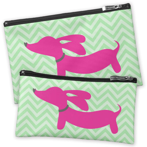 Pink Dachshund on Accessory Bags