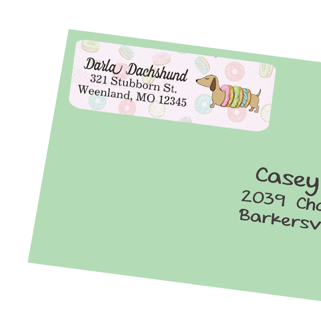 Dachshunds and Donuts Return Address Labels, The Smoothe Store