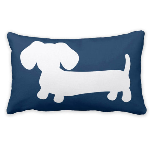White & Navy Dachshund Pillow, The Smoothe Store