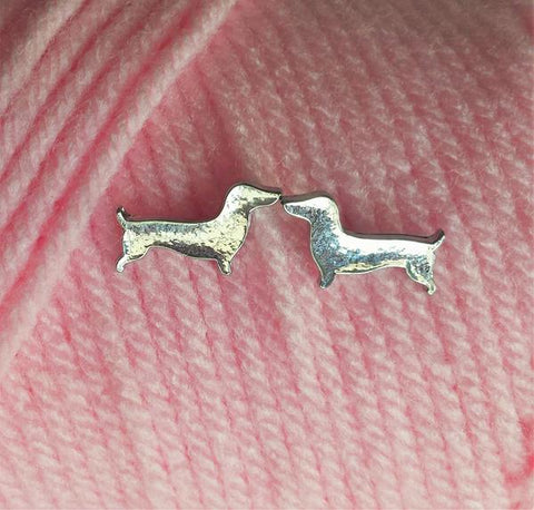 Dachshund Earrings - Silver Tone Doxie Studs