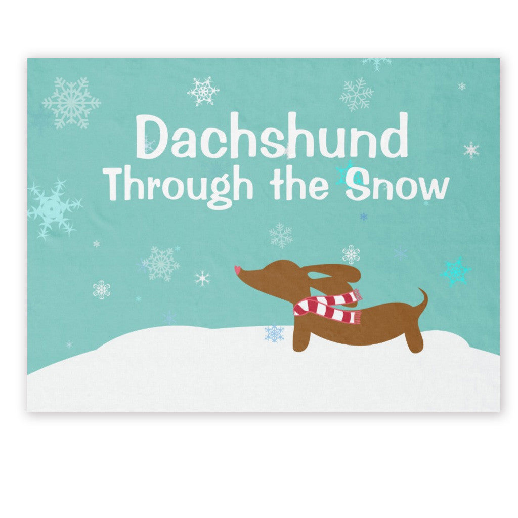 Wiener Wonderland Fleece Dachshund Snow Blanket, The Smoothe Store