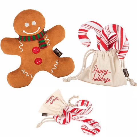 Dog Christmas Toys - Candy Cane and Gingerbread Man