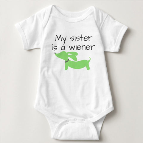 My Sister is a Wiener | Dachshund One Piece Baby Bodysuit