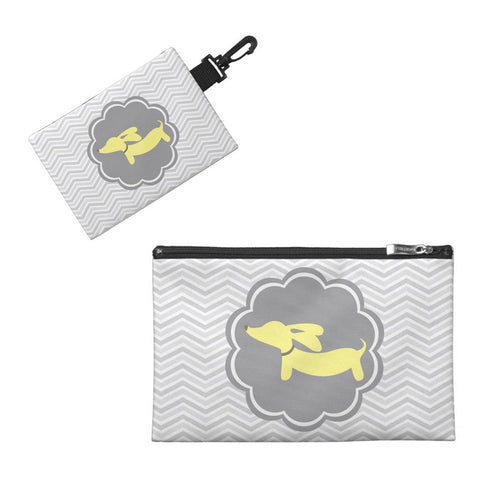 Yellow and Gray Dachshund Diaper Accessory Bags