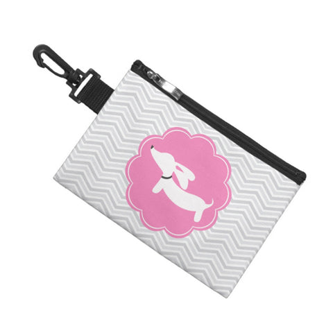 Pink & Gray Dachshund Baby Accessory Clip Bag