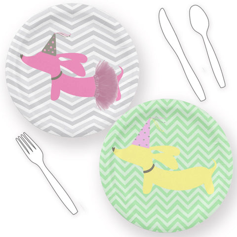 Dachshund Themed Paper Plates - Pink or Yellow