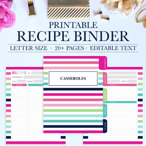 Printable Recipe Binder Kit - Personalized Family Recipe Binder - Recipe Pages - Recipe Organizer - Editable Text - Instant Download