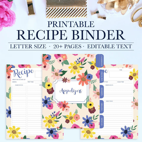 Keep all your favorite recipes organized with this beautiful and functional printable recipe binder kit. The printable recipe binder kit can be instantly downloaded and printed at home or a local print shop.