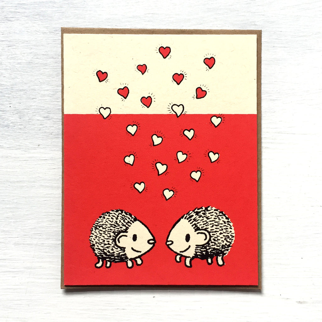 hedgehogs + hearts card