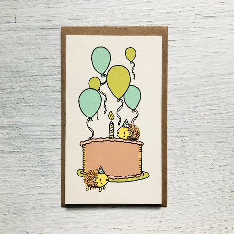 hedgehogs birthday mini card