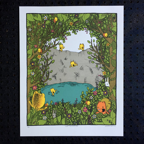 secret swimming hole screen print (16x20)