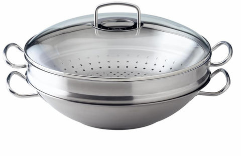 Fissler Original Pro Wok with Glass Lid & Draining Rack 35 cm