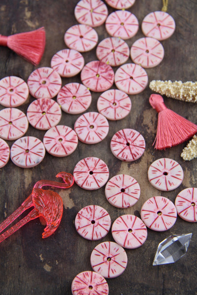 Pastel Pink Tribal Donuts: Hand Carved Donut Beads, 3x20mm - ShopWomanShopsWorld.com. Bone Beads, Tassels, Pom Poms, African Beads.