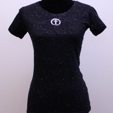 Small Disco Scoop Neck Shirt- Circle Cross Bling