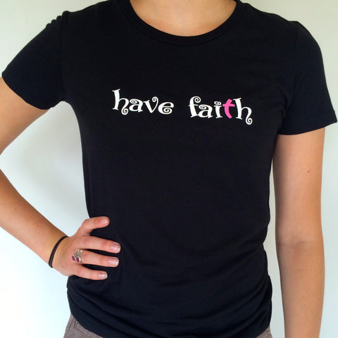 Black Short Sleeve Tee - White Have Faith