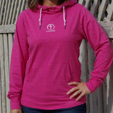 Long Sleeve Cowl Neck Hoodie- Pink or Blue