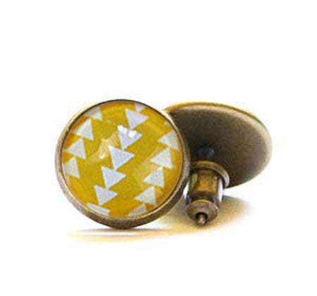 Beijo Brasil Yellow Triangle Glass Dome Posts, $14 | Light Years Jewelry
